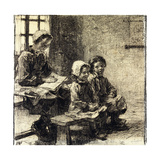 Little Girls at the School of Mont-Saint-Pere Giclee Print by Leon Augustin Lhermitte