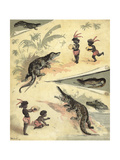African Children Playing with Crocodiles Giclee Print by Richard Andre