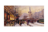Winter Paris Street Scene Giclee Print by Eugene Galien-Laloue