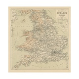 Railway Map of England and Wales Stampa giclée
