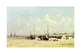The Beach at Low Tide, Berck, 1890-97 Giclee Print by Eugene Louis Boudin