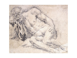 A Reclining Bearded Man Sleeping on His Arm Giclée-tryk af Paris Bordone