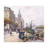 Le Quai Aux Fleurs and Hotel Giclee Print by Eugene Galien-Laloue