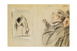Monsieur Fiquet Admiring a Pastel by Degas Giclee Print by Paul Cesar Helleu