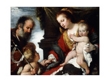 The Holy Family with the Infant St Lámina giclée por Bernardo Strozzi
