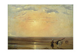 The Beach at Trouville with Setting Sun Giclee Print by Paul Huet