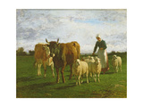Evening, Driving Cattle, 1859 Giclee Print by Constant-emile Troyon