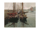 Penzance Fishing Boats in Newlyn Harbour, 1905 Giclee Print by Harold Harvey