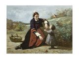 Breton Woman and Her Little Girl, 1855-65 Giclee Print by Jean Baptiste Camille Corot