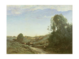 La Charette, Memory of Marcoussis Giclee Print by Jean-Baptiste-Camille Corot