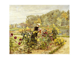 An Elegant Woman in a Rose Garden Giclee Print by Marie Francois Firmin-Girard