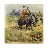 The Prince of Wales Tiger Hunting in India Giclee Print by Henry Payne
