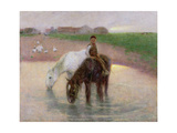The Horse Pond, C.1890 Giclee Print by Edward Stott