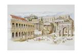 Roman Forum Giclée-tryk af Italian School