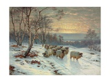 A Shepherd with His Flock in a Winter Landscape Giclee Print by Wright Baker