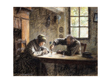 Man and Woman Drinking Eau De Vie Giclee Print by Léon Augustin L'hermitte