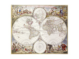 World Map from Atlas Maior, C.1705 Giclee Print by Frederick de Wit
