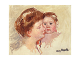 Mother in Profile with Baby Cheek to Cheek Giclee Print by Mary Cassatt