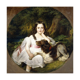 A Young Girl Resting in a Landscape with Her Dog Giclee Print by Frederich August Kaulbach
