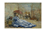 Woman in a Blue Dress under a Parasol, C.1865 Giclee Print by Eugene Louis Boudin