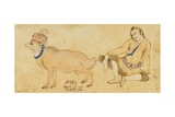 Study of a Young Man and a Ram, 1630-31 or Later Giclee Print by Riza-i Abbasi