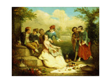 Gallant Party Giclee Print by Auguste Theodule Ribot