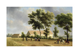 Landscape in Ile-De-France with Harvesters, 1802 Giclee Print by Jean Joseph Xavier Bidauld