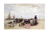 Fish Sale on the Beach Giclee Print by Bernardus Johannes Blommers