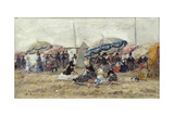 Parasols on the Beach at Trouville, 1886 Giclee Print by Eugène Boudin