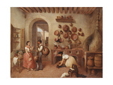 In the Kitchen of the Hacienda Giclee Print by Manuel Serrano