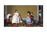 Girls Tending to Ladies Giclee Print by Silvestro Lega