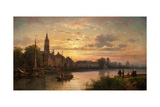 Dutch Sunset Scene, 1873 Giclee Print by Charles Euphrasie Kuwasseg