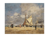 On the Pier, Deauville, 1889 Giclee Print by Eugene Louis Boudin