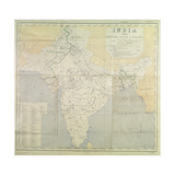 Map of India at Independence, 1947 Giclee Print