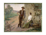 Peasant Couple in a Farmyard, 1889 Giclee Print by Henri Adrien Tanoux
