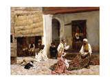 A Rug Bazaar, Tangier, 1878 Giclee Print by Edwin Lord Weeks