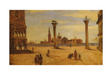 Piazzetta Di San Marco, Venice, 1828-34 Giclee Print by Jean-Baptiste-Camille Corot