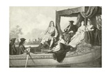 Handel's River Concert for George I Giclee Print by Edouard Jean Conrad Hamman