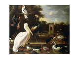 Many Different Types of Birds at a Pool in a Park Giclee Print by Melchior de Hondecoeter