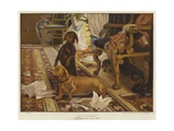 Three Dachshunds around a Chair in a Living Room Giclee Print by Otto Weber