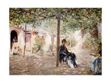 Ladies in a Sun-Dappled Courtyard Giclee Print by Jose Gallegos Arnosa