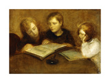 Girls Reading Impression giclée par Eugene Carriere