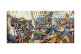 Pirates Attacking a Spanish Galleon Giclee Print by Mike White