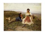 Flirtation, 1887 Giclee Print by Eugen Von Blaas