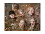 Children's Heads and Flowers Giclee Print by Nicolas-bernard Lepicie