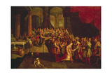 King Ahasuerus Crowns Esther Giclee Print by Frans II the Younger Francken