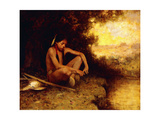 Young Hunter by a Stream Giclee Print by Eanger Irving Couse