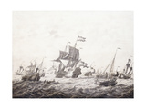 Men-Of-War Breaking Fishermen's Nets Giclee Print by Adriaen or Abraham Salm