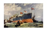 "The Launch of the ""London"" at Portsmouth Giclee Print by Charles Edward Dixon"