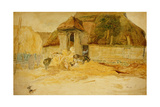Animals before a Thatched Barn Giclee Print by James Ward